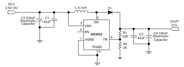 封装 典型应用电路 hx3033a是一款单片式,高功率升压型开关稳压器.